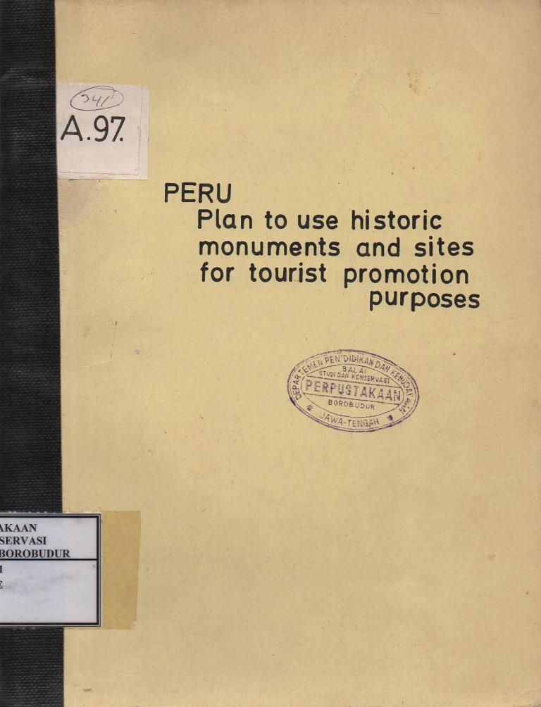 Peru Plan To Use Historic Monuments and Sites For Tourist Promotion Purposes